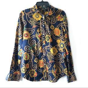 Lauren Ralph Lauren Chain Logo Crest Print Shirt